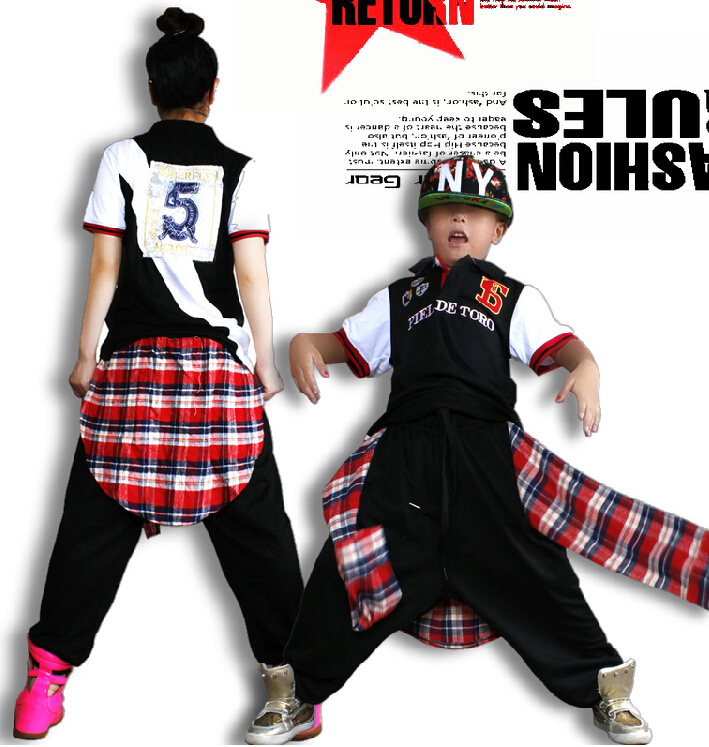 Adlut kids erformance wear punk Celana sweatpants plaid patchwork wear ds costume False two harem Hip hop dance pants