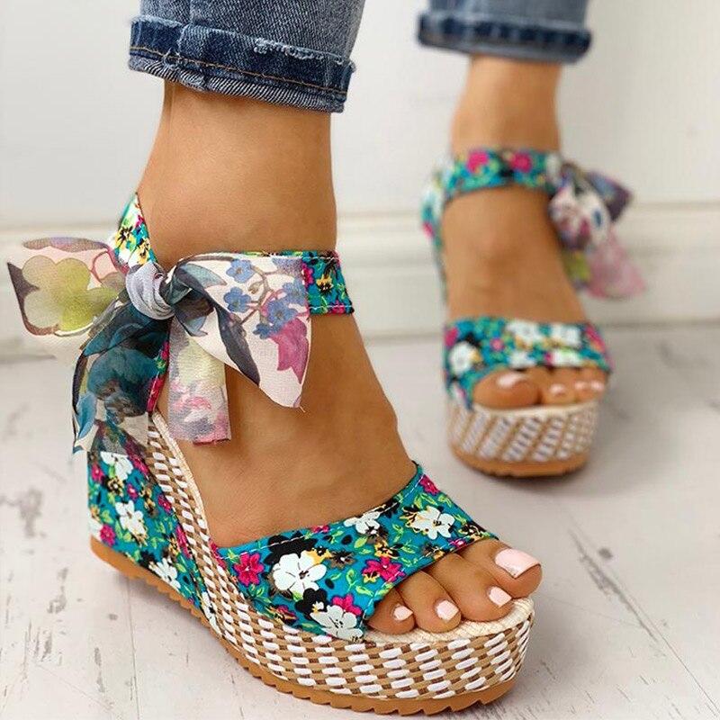 Sandalias de cuña de verano mujer tacón alto bohemias con lazo Flores