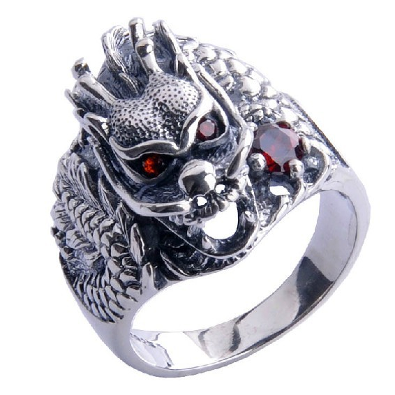 Handmade 925 Silver Dragon Ring for Men Vintage Sterling Silver Ring Dragon цена
