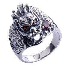 Handmade 925 Silver Dragon Ring for Men Vintage Sterling Silver Ring Dragon