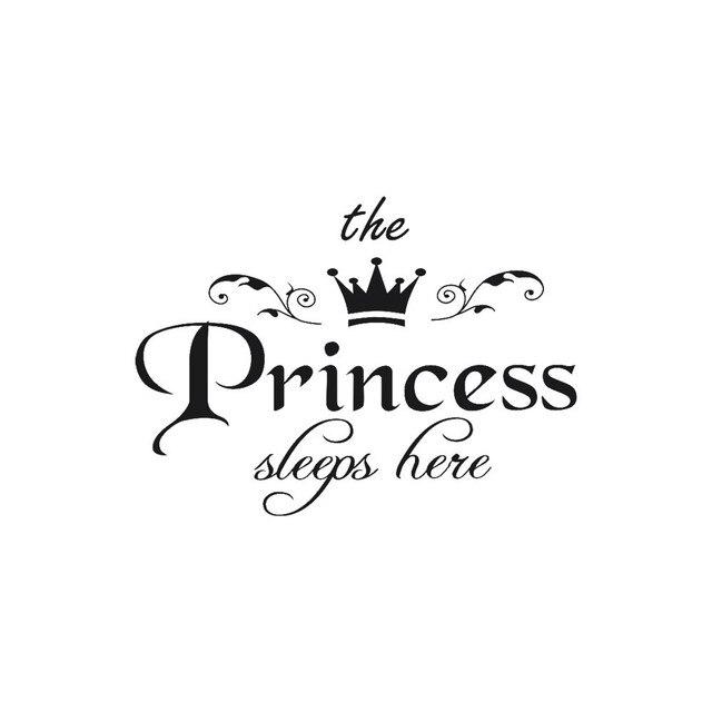 Rimovibile Wall Sticker La Principessa Dorme Qui Crown Decalcomania Soggiorno ca