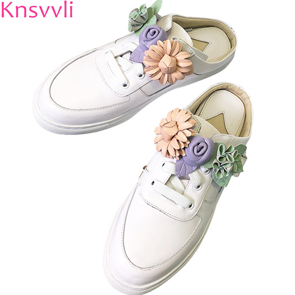 Knsvvli lace up genuine leather slingback casual platform shoes women round toe colour flower white flat fashion women slippers