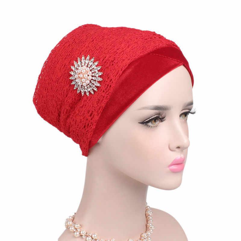 Helisopus Velvet Mesh Turban Long Tail Wrapped Head Scarf Muslim Hijab Bandanas Hair Accessories Clearance Sale