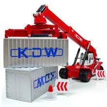 Modelo de engenharia recipiente frente trole liga diecast modelo 1:50 tamanho grande transportador kdw crianças coleção decoração brinquedos