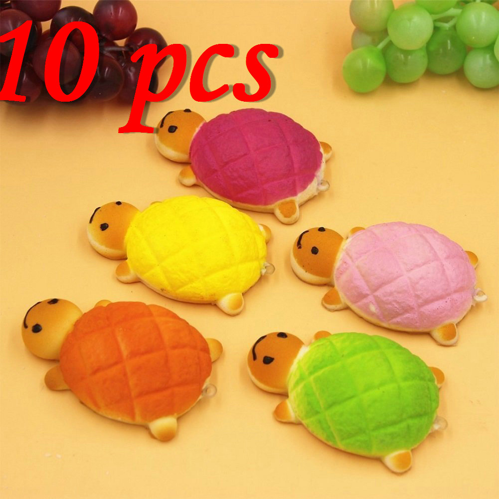 Cover iphone 5 squishy - 10pcs Lot Wholesale 14cm Cute Squishy Tortoise Phone Charms Jumbo Bread Scented Turtle Hand Pillow 5