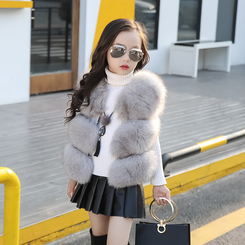 High Quality! Girls Faux Fox Fur Vest Patchworked Leather girls Gray solid For Coats for kid quality
