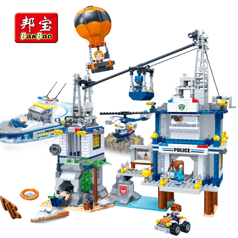 BanBao Police Station Prison Island Cable Car Fire Balloon Bricks Educational Building Blocks Toy Model 7020 Children Kids Gift 407pcs sets city police station building blocks bricks educational boys diy toys birthday brinquedos christmas gift toy