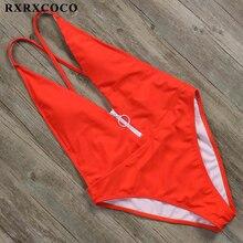 RXRXCOCO Hot Backless One Piece Swimsuit Women Sexy Solid Bandage Swimwear Women 2019 Deep V-neck Female Bathing Suit Bodysuits