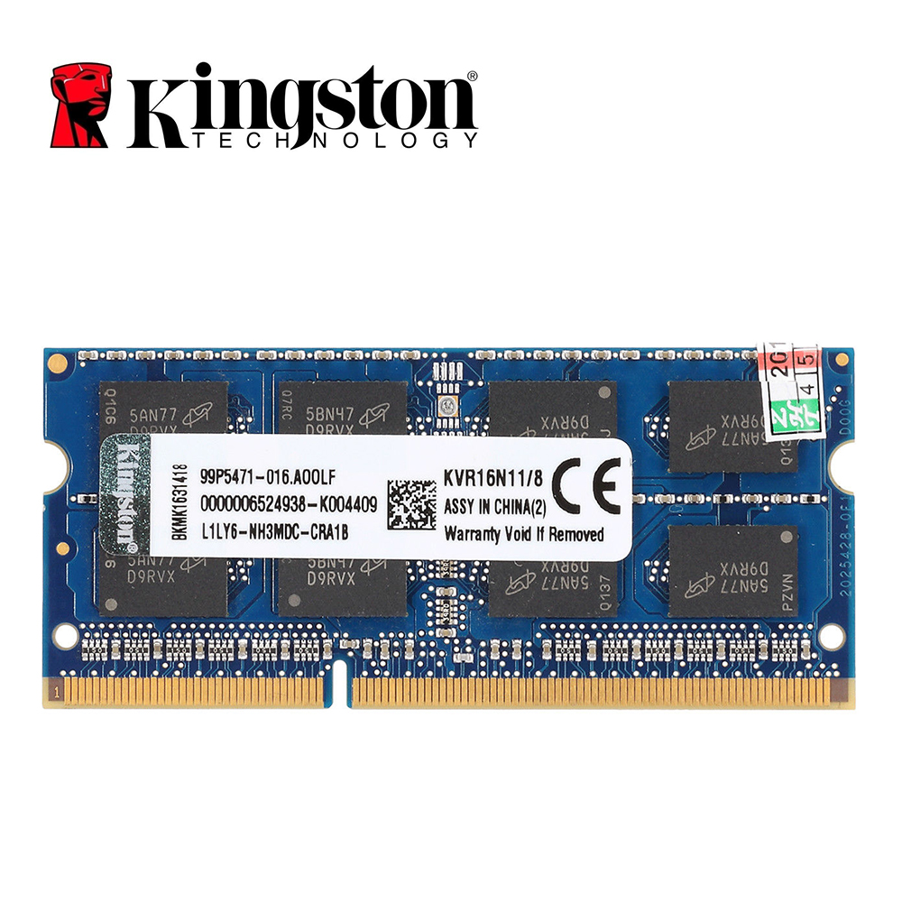 Kingston ram mémoire DDR3 8 GB PC3-12800S DDR3 1600 Mhz DDR3 8 GB CL11 204pin 1.5 V ordinateur portable mémoire portable SODIMM RAM