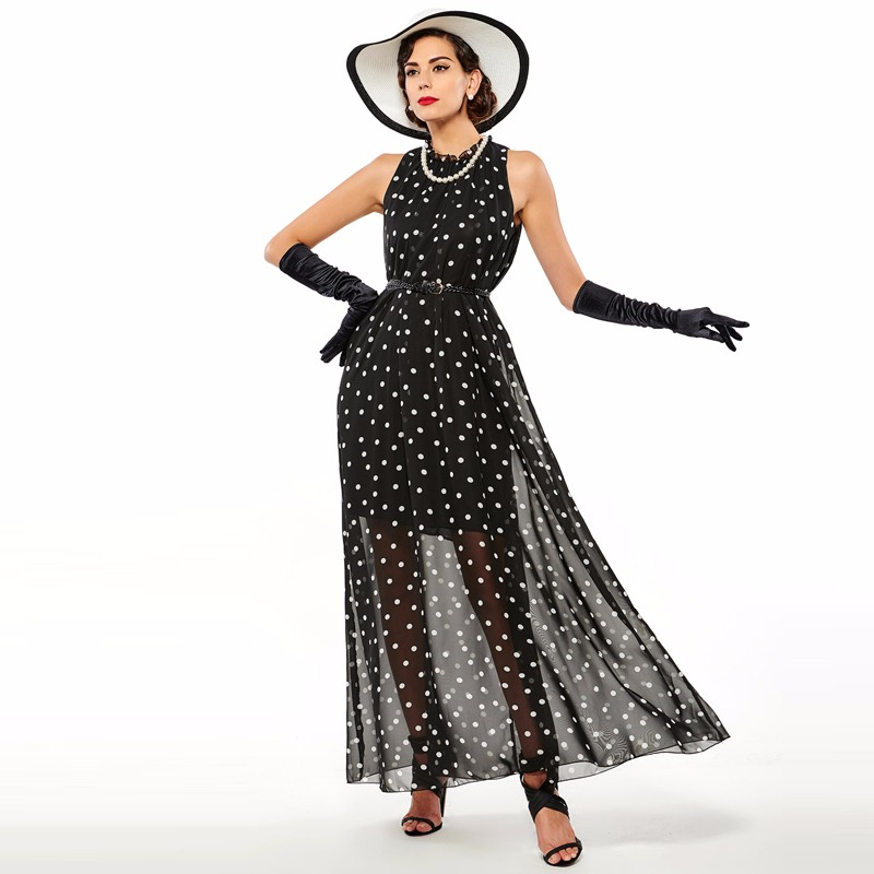 Sisjuly women maxi fashion polka dots maxi dress long casual summer beach chiffon party black dresses style elegant maxi dress 9