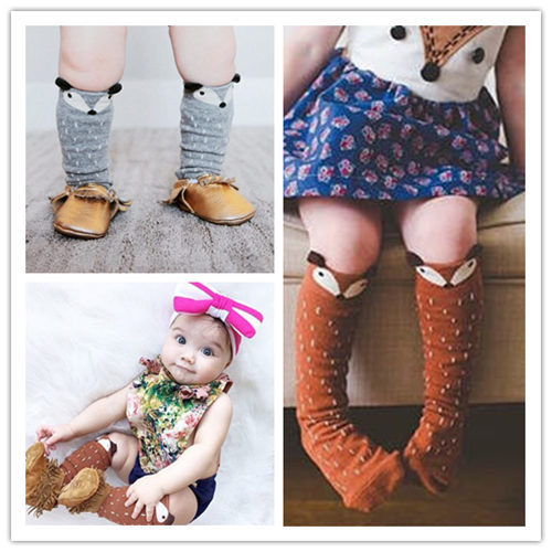 Animal Fox Anti Slip Baby Knee High Socks Autumn Winter Baby Legs