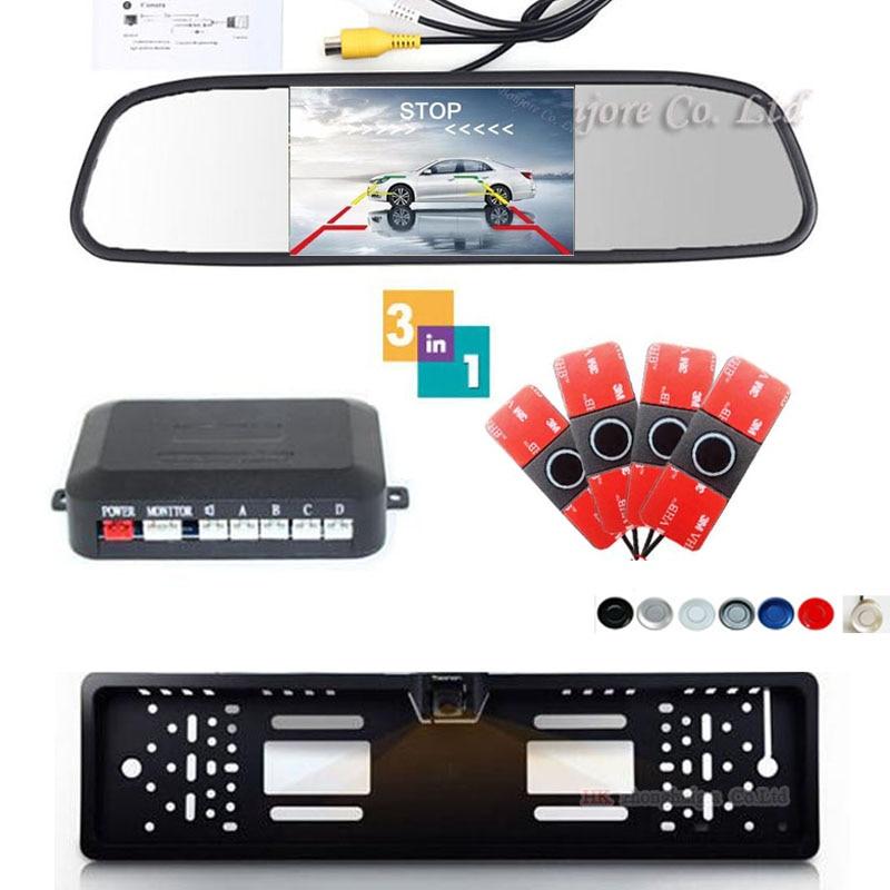 16mm Flat Sensors Rear Car Parking Sensor 4 Backup Radar System Europe License Plate Frame Car parktronic Camera &Video Monitor цены