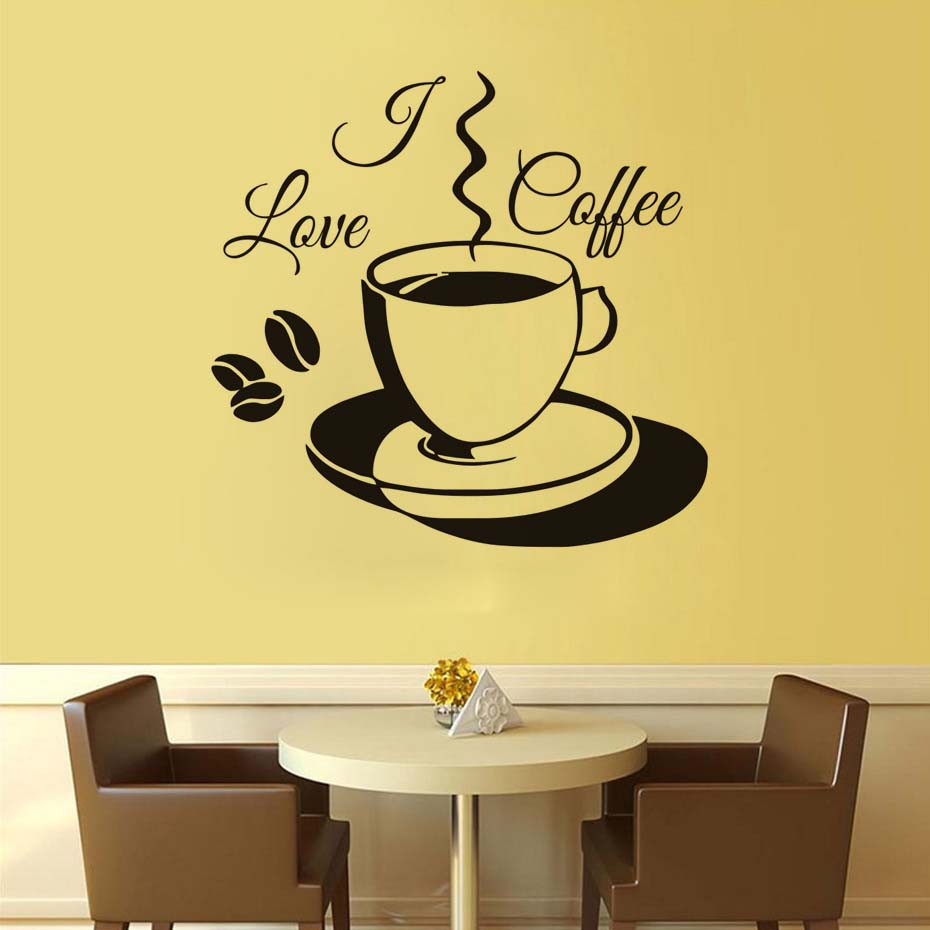 I Love Coffee Wall Stickers PVC Removable Cute Coffee Cup Wallpaper ...
