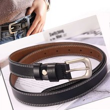 Fashion womens buckle jeans wild retro leather belt fashion simple new luxury designer