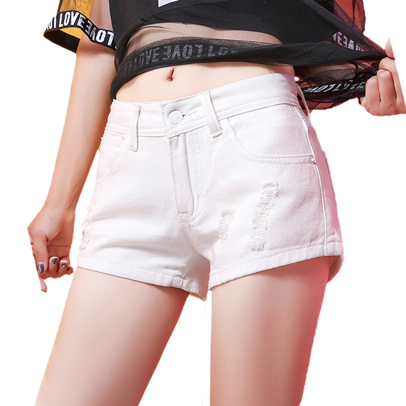 Europe White Denim   Shorts   Women Jeans   Shorts   2018 Fashion Torn Ripped Hole Black Blue Summer Wide Leg   Shorts   For Woman Plus Size