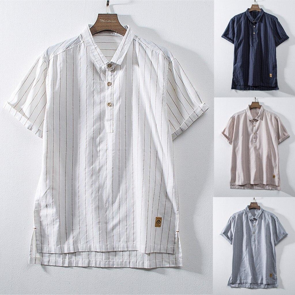 Fashion Casual Short Sleeve Mens Cotton Linen Solid Stripe Retro Blouse Tops
