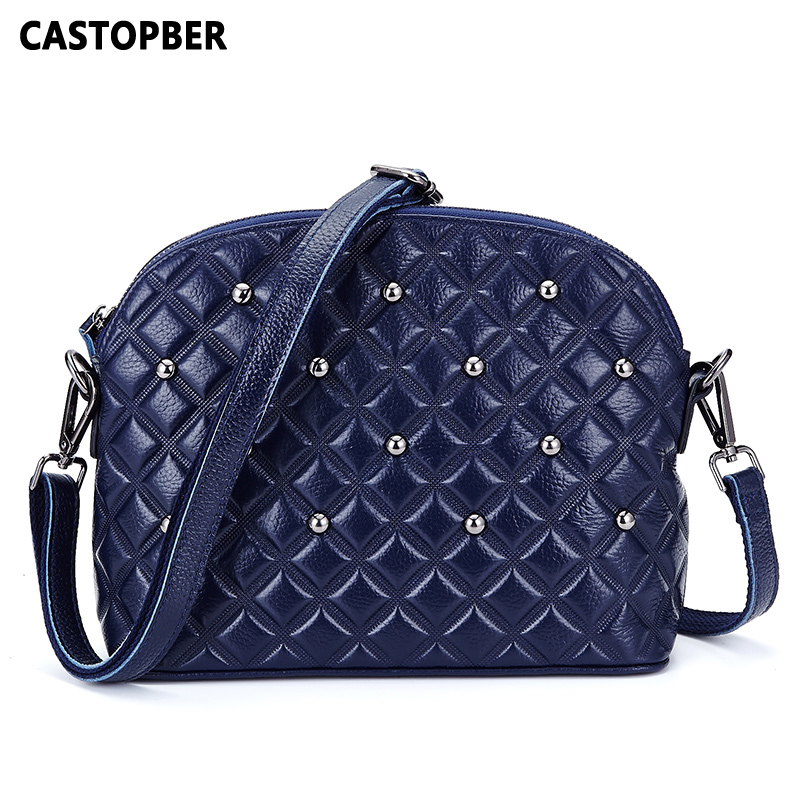 Rivet Shell Bag Handbag European American Women's Genuine Leather Cowhide Messenger Crossbody Designer Famous Brand High Quality hot sale european and american fashion men genuine leather famous kpaullon brand shoulder handbag designer mens messenger bag