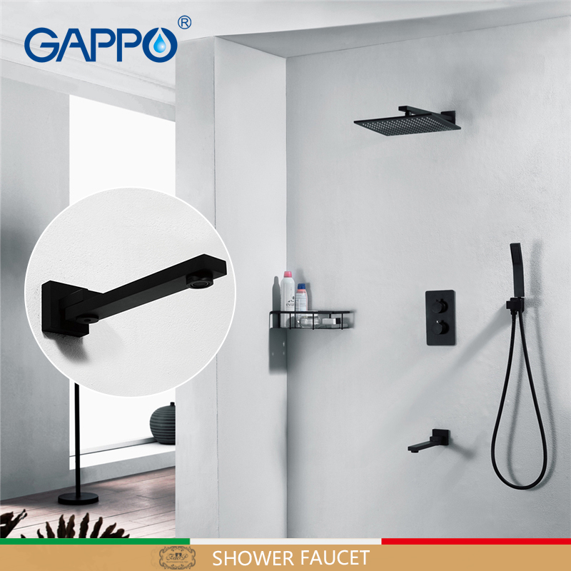 GAPPO Shower faucets bathroom mixers bathtub faucet mixer concealed shower mixer Black Thermostatic shower sets bathroom