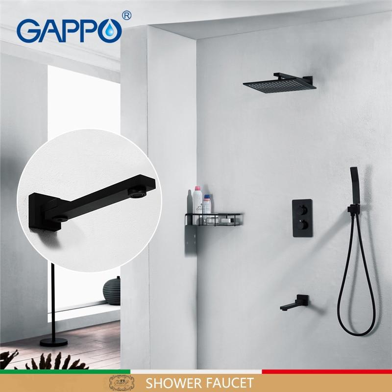 GAPPO Chuveiro torneiras misturadores torneira da banheira do banheiro conjuntos de chuveiro do banheiro torneiras Termostática misturador escondido misturador do chuveiro Preto