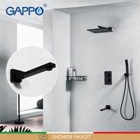 GAPPO Chuveiro torneiras misturadores torneira da banheira do banheiro conjuntos de chuveiro do banheiro torneiras Termostática misturador escondido misturador do chuveiro Preto|Torneiras p/ chuveiro|   -