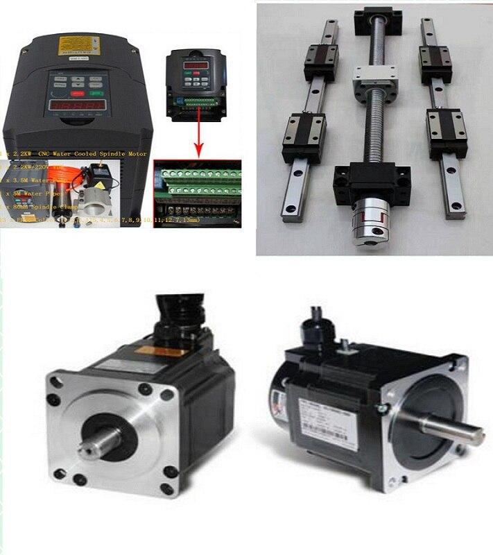 HB15 HB20 Linear guide sets + 3x SFU1605-290/742/1055mm Ballscrew+2.2KW 220V spindle motor kit+3 axis Nema23 stepper motor kit bering bering 11422 742