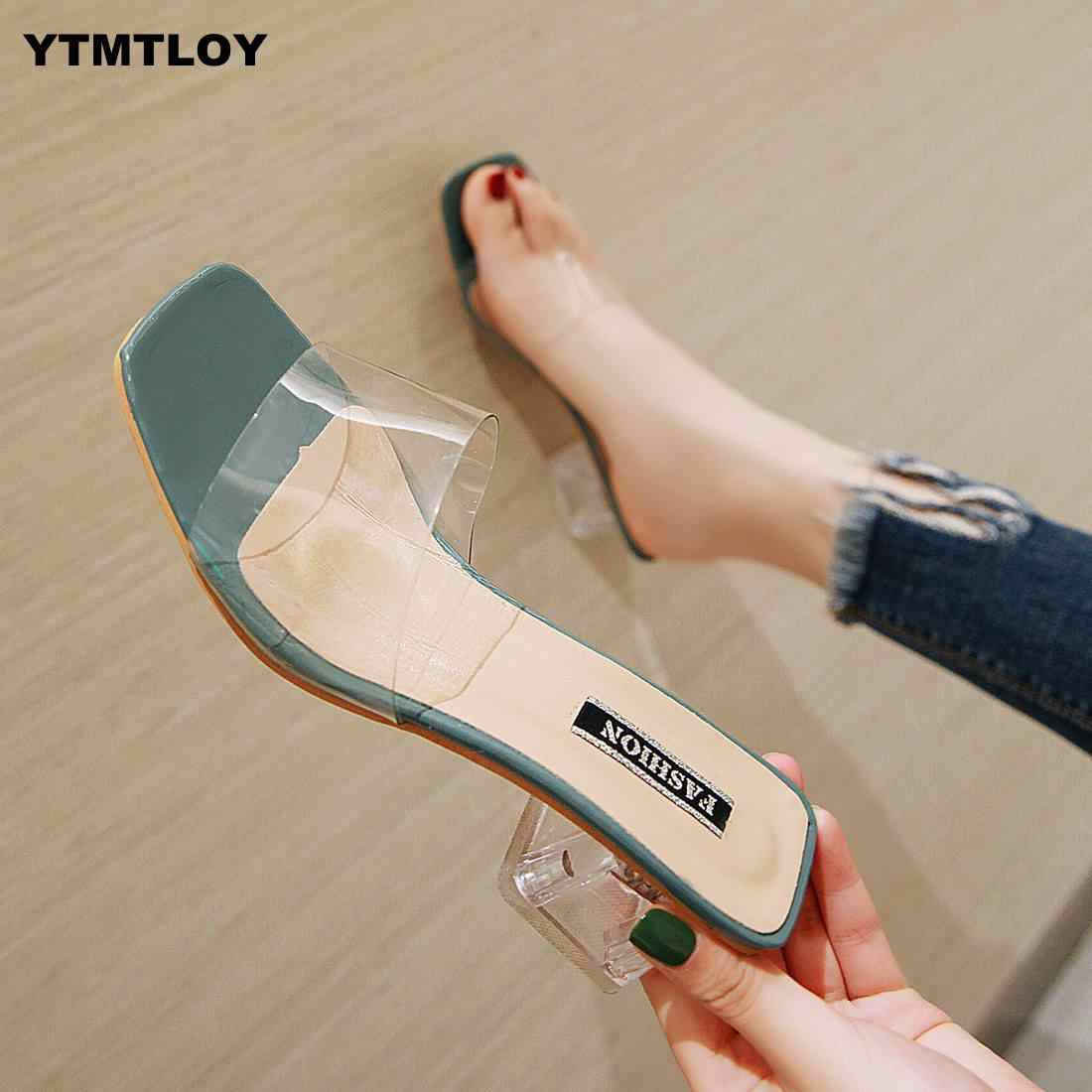 2020 Women Sandals Shoes Celebrity Wearing Simple Style PVC Clear Strappy Buckle High Heels Woman  Transparent Heels  Yellow