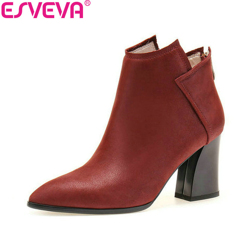 ESVEVA 2018 Women Boots Square High Heels Pointed Toe Cow Leather+PU Ankle Boots Western Style Fashion Ladies Boots Size 34-39 2017 new long winter jacket women warm thick large faux fur collar hooded women coats plus size coat parka outwear pw0781