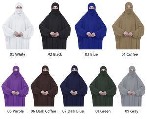 Image 2 - Islamic Khimar Abaya Prayer Dress Muslim Women Overhead Jilbab Full Cover Kaftan Arab Burqa Hijab Veil Niqab Hooded Modest Robes
