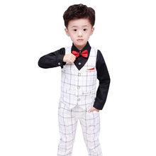 e559ad665 Formal de los muchachos conjuntos de ropa primavera otoño niños ropa de  boda chaleco y pantalones