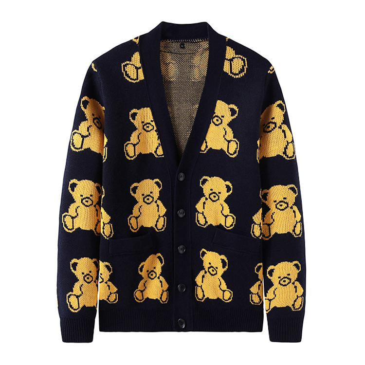 New 2019 Men Luxury Embroidered Bears Knit Casual Sweaters Cardigan Asian Plug Size High Quality Drake #J69