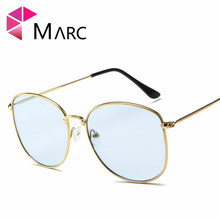 MARC sunglasses men and women fashion personality Metal Clear trend UV400 Yellow glasses Frames classic Resin Wrap