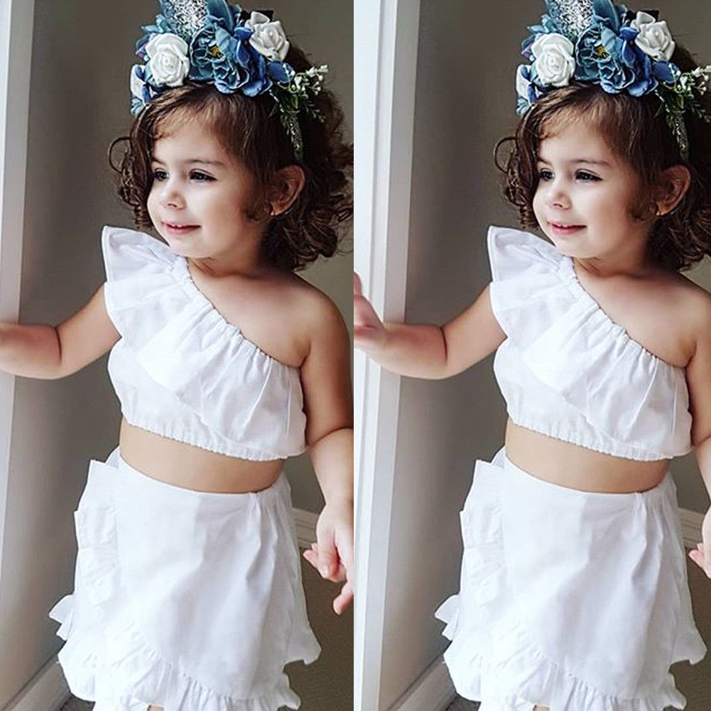 UK 2PCS Toddler Kids Baby Girls Mermaid Clothes Tops Skirt Dress Outfits Sets