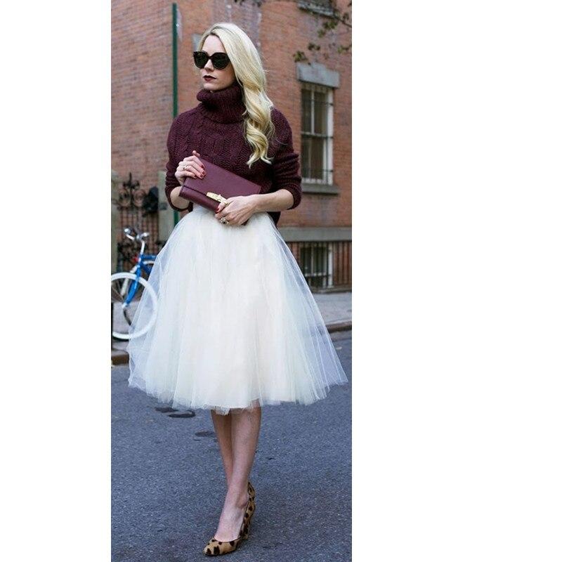 Jolie jupe femme Tulle bouffante femmes mousseline de soie Tulle jupe taille haute Midi longueur genoux grande taille Tutu jupes