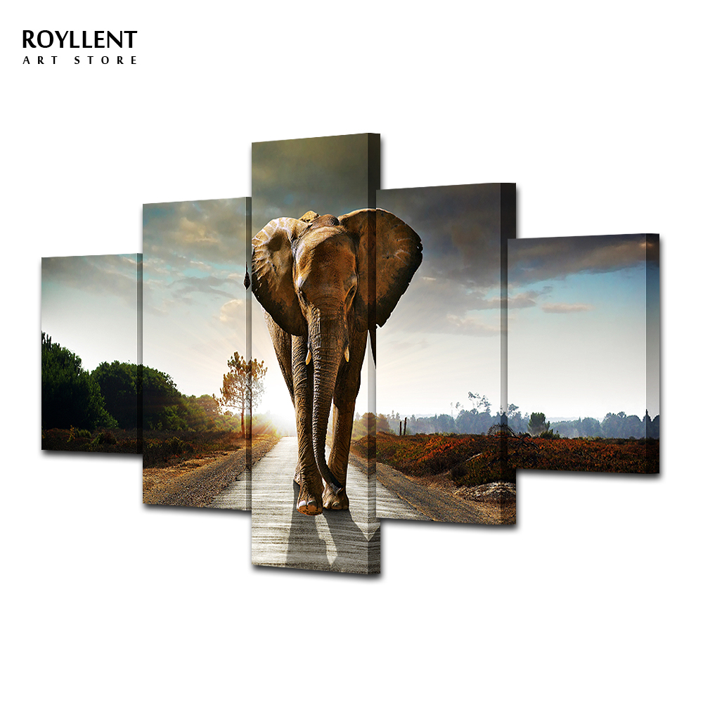 canvas painting elephant wall art picture home decoration living room large canvas 5pcs combined no framedra0072
