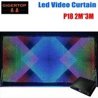 P18 2 متر x 3 متر LED الفيديو الستار ، سريع السفينة LED الرؤية الستار مع خط المهنية PC/SD تحكم ل DJ الخلفيات شاشة الكريستال السائل-في تأثير إضاءة المسرح من مصابيح وإضاءات على