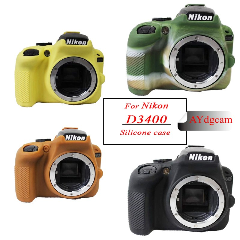 Nice soft Silicone Camera Video Bag For <font><b>Nikon</b></font> <font><b>D3400</b></font> Camera <font><b>Case</b></font> Rubber Protective Body Cover Skin image