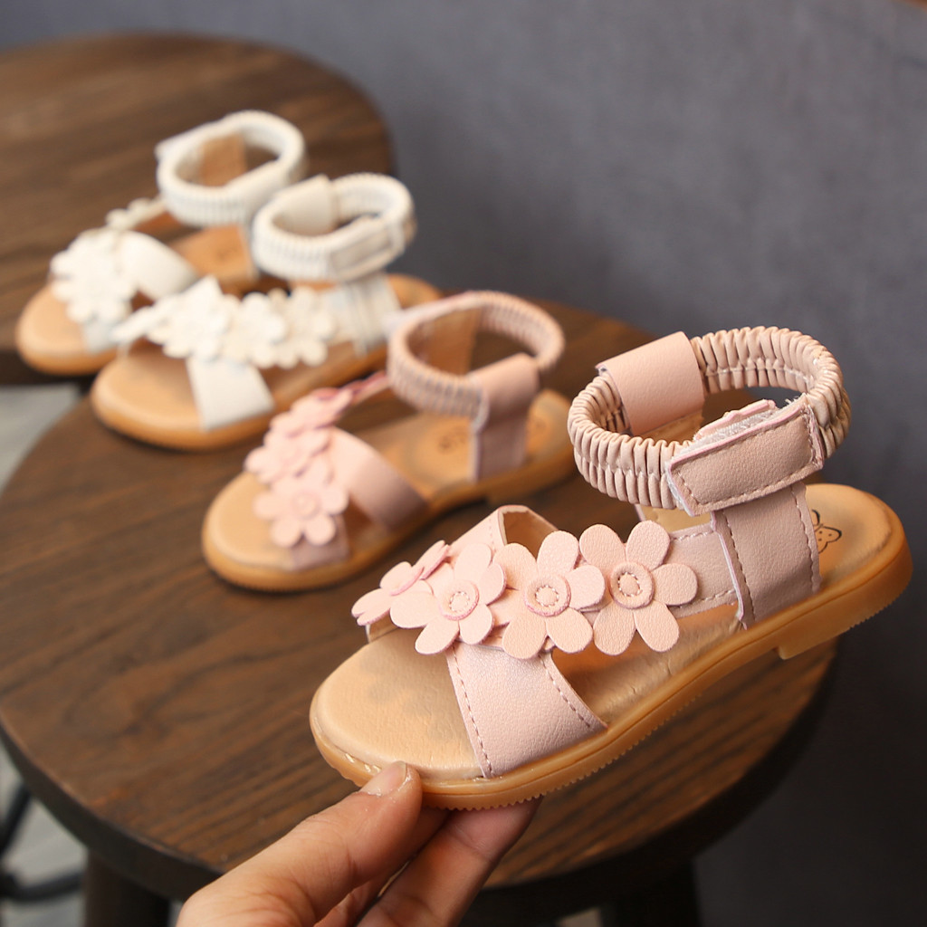 ABCOnline Toddler Infant Kids Baby Girls Flower Princess Beach Shoes Roman Sandals Summer Beach Breathable Leaky Toe Sandals Beige