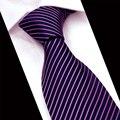 2017 Moda Purple Juegos de Negocio de Los Hombres Corbata Ancha Hilo de Poliéster Vestido de Patrón de Rayas Formales Novio Corbata Gravatas Corbata