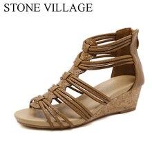 Pedra vila nova chegada sapatos femininos conforto roma gladiador casual sandálias de praia mulher verão zip sandalias tamanho grande 35 42
