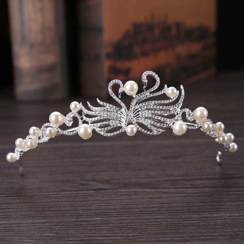 Metting Joura Wedding Party Metal Swan Hair Crown Bridal Flower Tiaras For Women Girls Bridal Hair Accessories 2017 woman for hair flower headbands tiaras veil wedding hair accessories bridal flower crown veils flower headpieces
