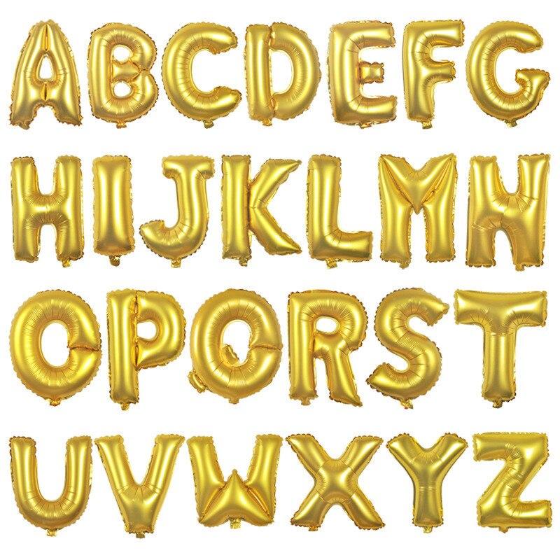 Gold alphabet letter balloons names letter number balloons for Shoulder decoration 9 letters