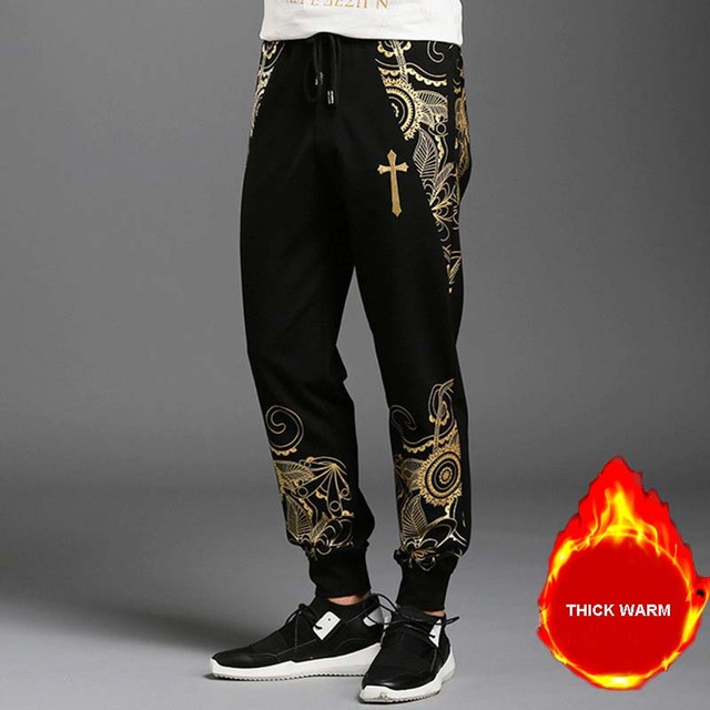 vendita calda online 621db c82a3 US $40.04 |Autunno Inverno Uomo Casual Pantaloni Felpati In Cotone Hip Hop  Harem Pants Pantaloni Maschili Caldo Velluto Addensare Coreano Slim Fit ...