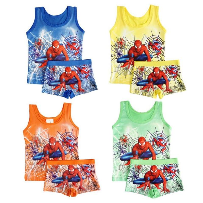 2020 Children's Pajamas Set Summer Sleeveless Boys Pyjamas Spiderman Cartoon Kids Girls Sleepwear Vest Suit Boy Homewear Clothes