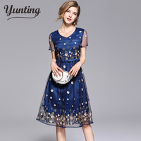 Runway 2018 Summer Party Dresses Gorgeous Short Sleeves Embroidery Mesh Patchwork Dress Brand Style
