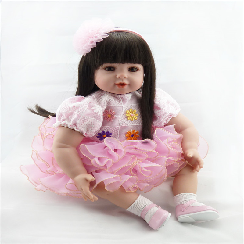 20 inch 50 cm  baby reborn Silicone dolls, pink princess skirt length hair doll : 91lifestyle