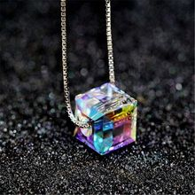 Colorful Aurora Square Crystal Pendant Necklace For Women Fashion Jewelry