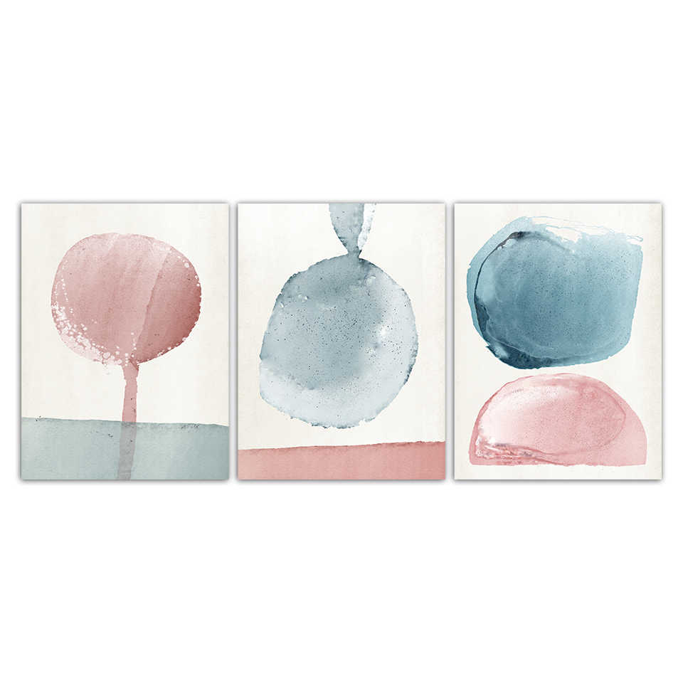 Abstract Pink Blue Watercolor Painting Nordic Fresh Poster Canvas Prints Wall Art Pictures Kids Room Modern Fashion Home Decor