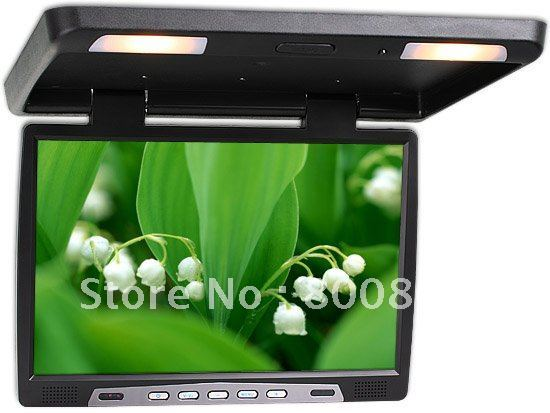 Free Shipping 2pcs/lot Original Material 17inch Screen Flip Down Roof Top Car Monitor with TV IR FM function BLACK  Car Monitor