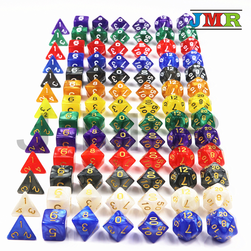 Dungeons & Dragons 7pcs/set Creative RPG Game Dice D&D Colorful Multicolor Dice Mixed White D4 D6 D8 D10 D12 D20 DND Game Dice ...