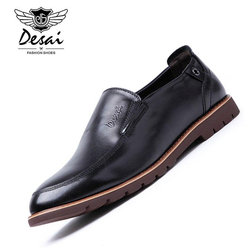 DESAI Brand Genuine Leather Shoes Men Flats Black Brown Color Comfortable Slip On Pig Leather Inside Men Shoes Size 38-43
